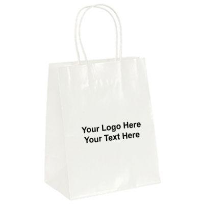 Custom White Gloss Paper Amanda Shopping Bags
