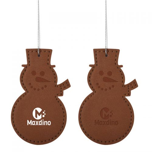 Custom Printed Leatherette Ornament - Snowman