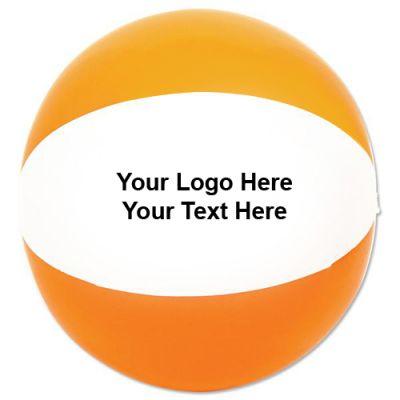 12 Inch Personalized Beach Balls - Orange/White
