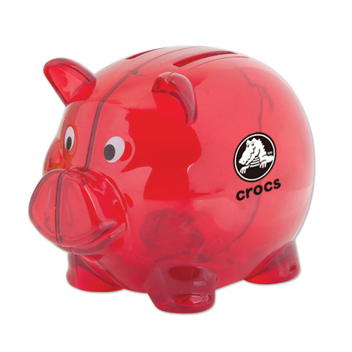 Logo Imprinted 2 Slot Piggy Bank Translucent Red Children S Toys