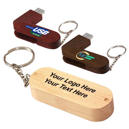 16 GB Bamboo Bullet Keyring USB 2.0 Flash Drives
