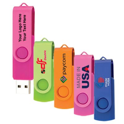 Personalized Two Tone Folding USB 2.0 Flash Drive 8 GB