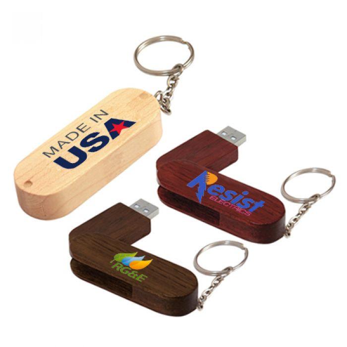 2 GB Bamboo Bullet Keyring USB 2.0 Flash Drives