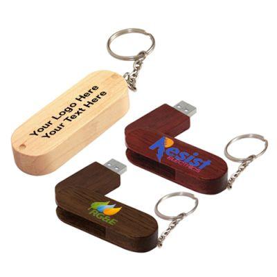 Promotional 2 GB Bamboo Bullet Keyring USB 2.0 Flash Drives