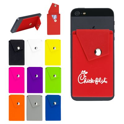 Personalized Silicone Phone Stand with Pocket