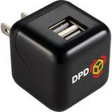 1.5 Inch Logo Imprinted USB Dual Output AC Adaptors
