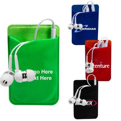 Custom Printed Mobile Device Pocket & Earbuds Set