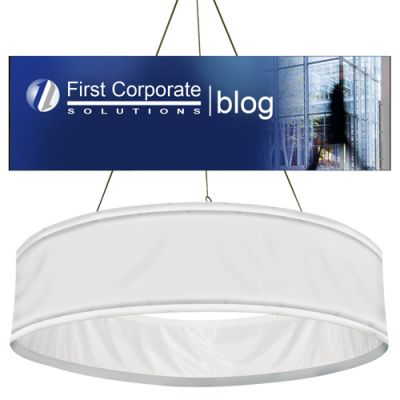 14.8' Diameter Promotional Logo Round Hanging Banners - Graphic Only
