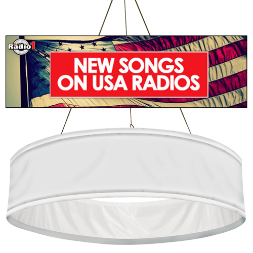 9 87 Diameter Customized Round Hanging Banners Graphic