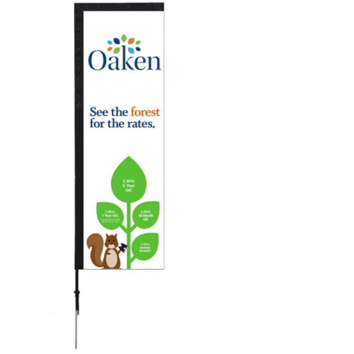 7' Custom Printed Rectangle Single Sided Sign Kit with Spike Base