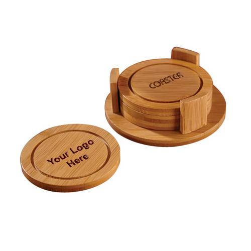 Imprinted Round Shaped Bamboo Coaster Set
