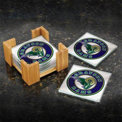Custom Printed Bamboo 6 pc Coaster Set