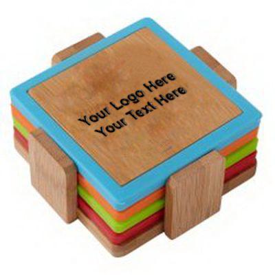 Customized Bamboo and Silicone Coaster Set