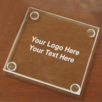 Logo Imprinted Economy Glass 4 pc Coaster Set