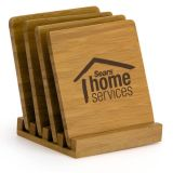 Personalized 4pc Bamboo Coaster Set