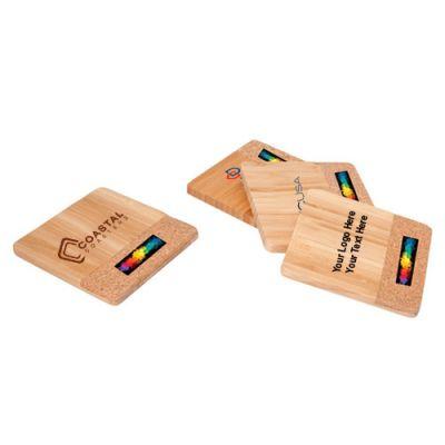 Personalized Bamboo/Cork Coaster Set