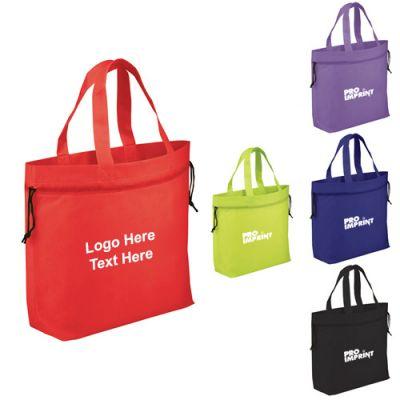 Custom Logo Imprinted Shell Cinch Tote Bags