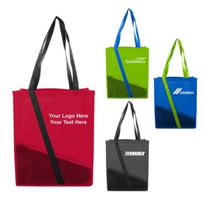 Logo Imprinted Polypropylene Mesh Pocket Tote Bags