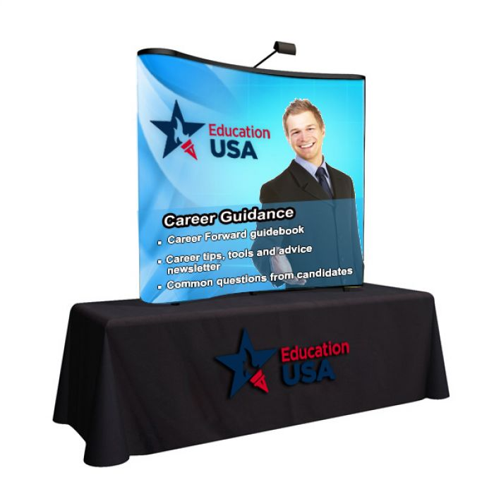 6' Promotional Arise Curved Table Top Kit with Full Mural Graphic Panel