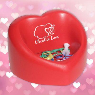 Custom Imprinted Valentine Heart Desktop Bin