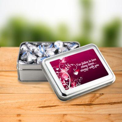 Custom Printed Rectangular Tin with Hershey Kisses