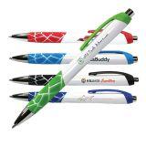 Custom Printed Full Color White Geo Grip Pens
