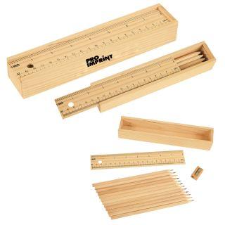 Custom Printed Colored Pencil Set In Wooden Ruler Box