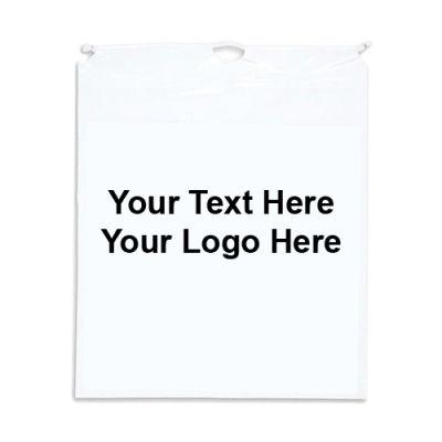 9 x 12 Promotional Logo Cotton Drawstring Plastic Bags